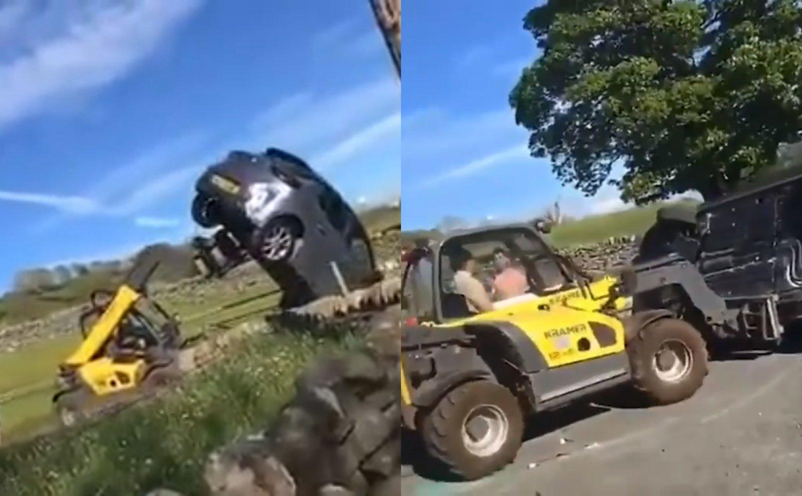 Šokiruojantis vaizdas: įsiutęs ūkininkas taranavo automobilį su traktoriumi ir jį apvertė (vaizdo įrašas)