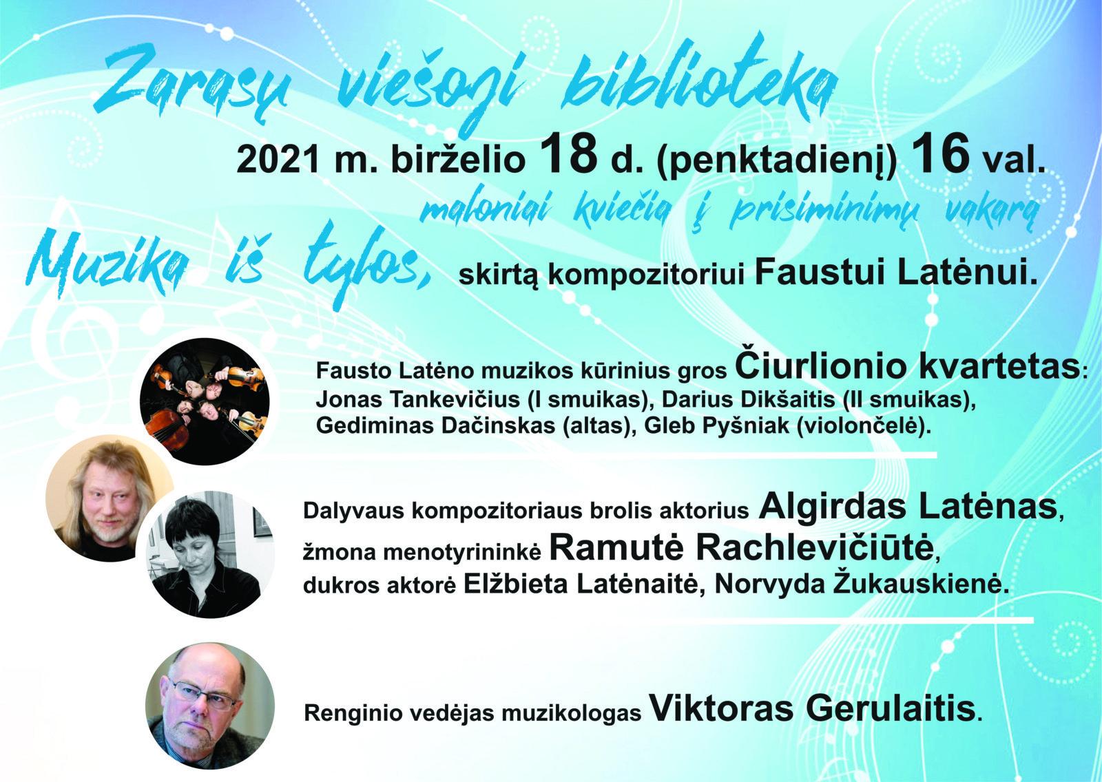 Zarasiškius kviečia į prisiminimų vakarą, skirtą kompozitoriui Faustui Latėnui