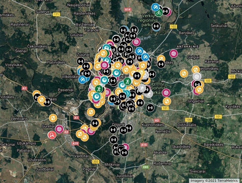 Vilniaus savivaldybė sukūrė viešųjų sporto erdvių žemėlapį – daugiau nei 500 aikštelių