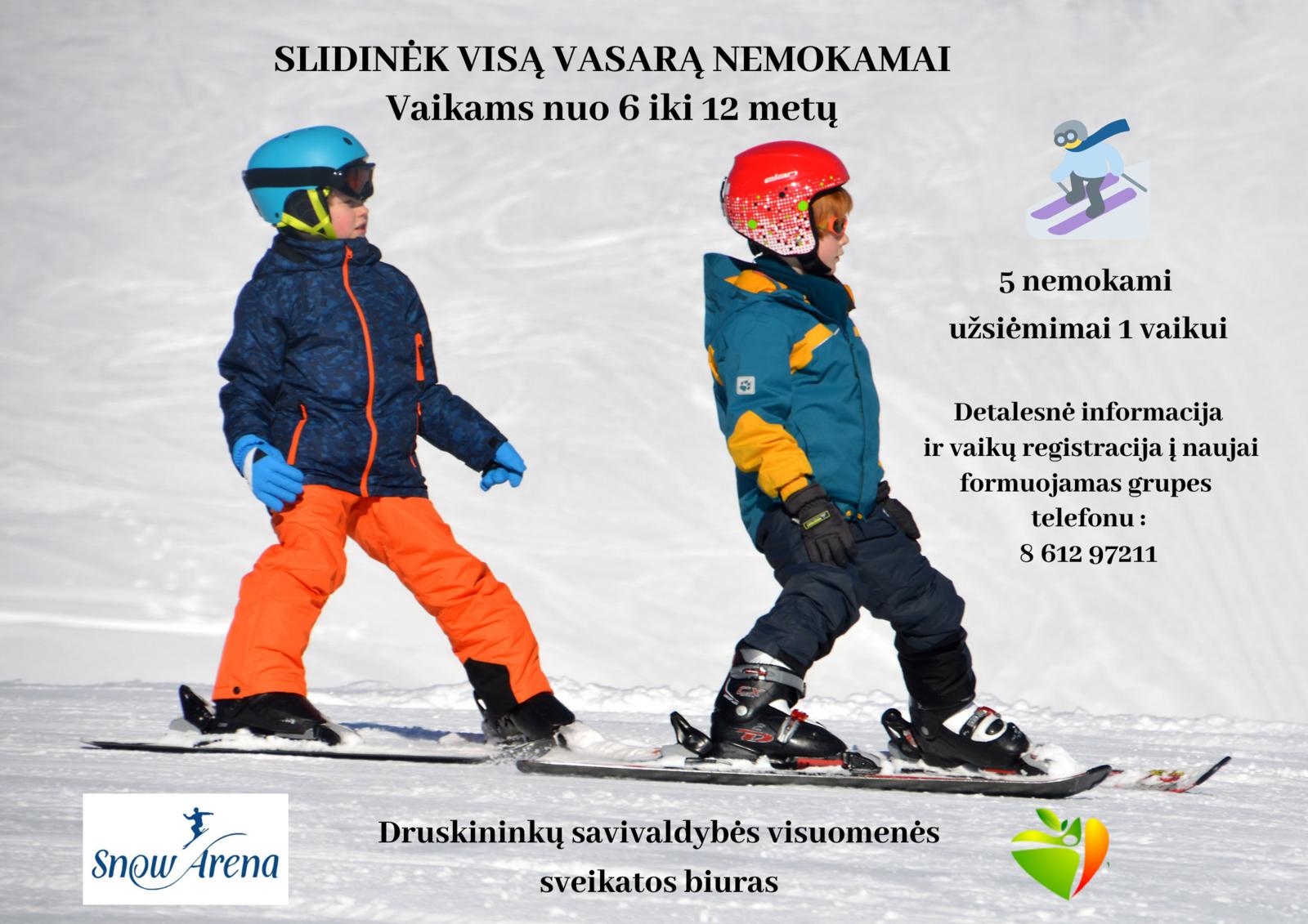 Druskininkuose vyks nemokami slidinėjimo užsiėmimai vaikams