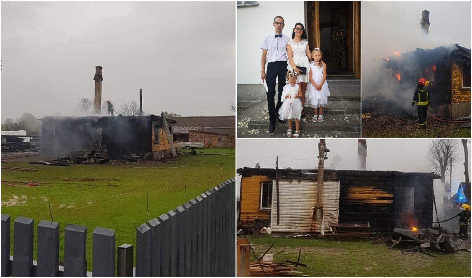 """Gaisre namų netekusi šeima nusivylė paramos organizacija: """"Po sutarties pasirašymo dingo"""""""