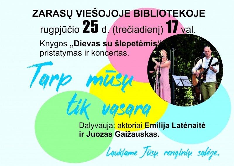 Zarasų bibliotekoje – koncertas ir knygos pristatymas