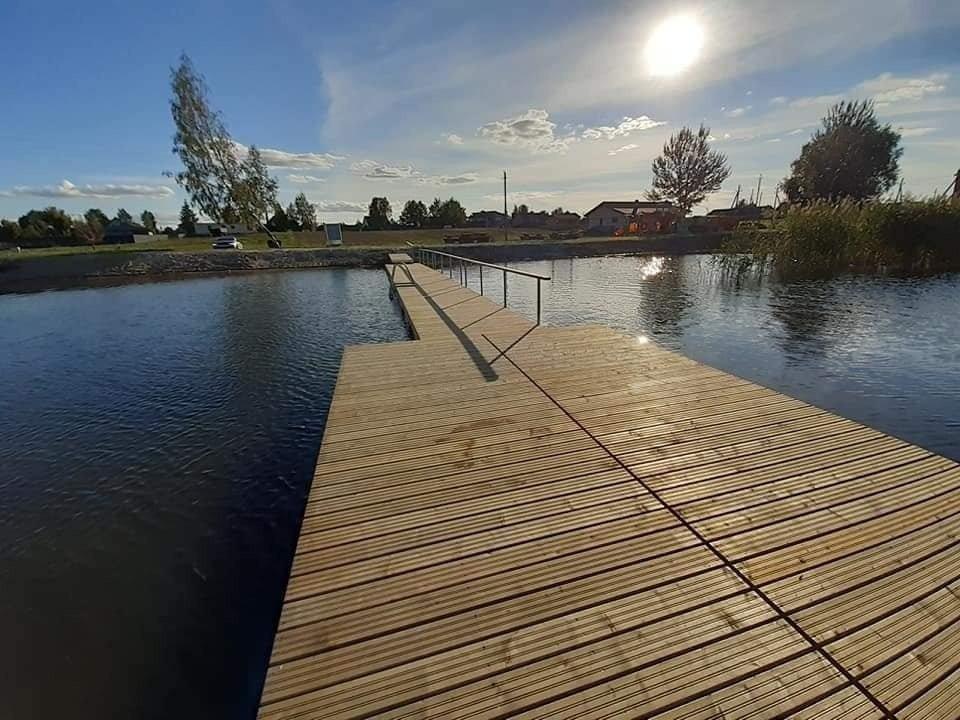 Vydmantų karjere įrengtas pontoninis tiltas