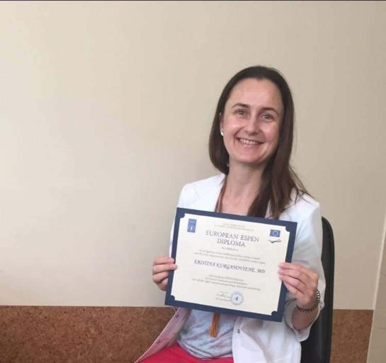 Pirmoji gydytoja dietologė, įgijusi Europos klinikinės mitybos diplomą