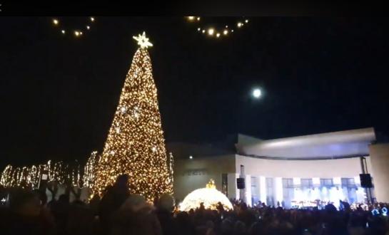 Alytaus miesto Kalėdų eglė suspindo 8 tūkstančiais lempučių