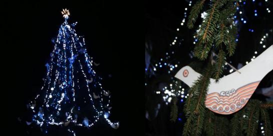 Velžyje suspindo pagrindinė Panevėžio rajono Kalėdų eglė