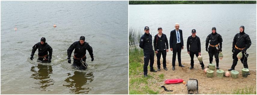 Skuodo tvenkinyje – plūdurai, žymintys vaikų maudymosi zoną