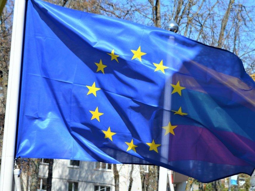 Palangoje iškeltos Europos Sąjungos vėliavos
