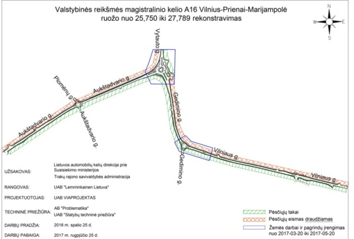 Pėsčiųjų eismas Vilniaus, Gedimino ir Aukštadvario gatvių rekonstrukcijos darbų metu