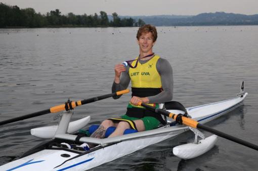 Neįgalus irkluotojas A. Navickas laimėjo pirmąsias varžybas 2 km distancijoje