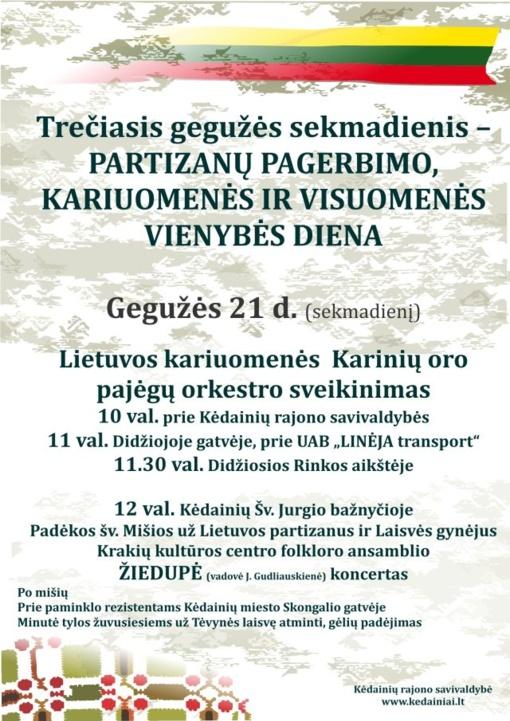 Trečiasis gegužės sekmadienis – Partizanų pagerbimo, kariuomenės ir visuomenės vienybės diena