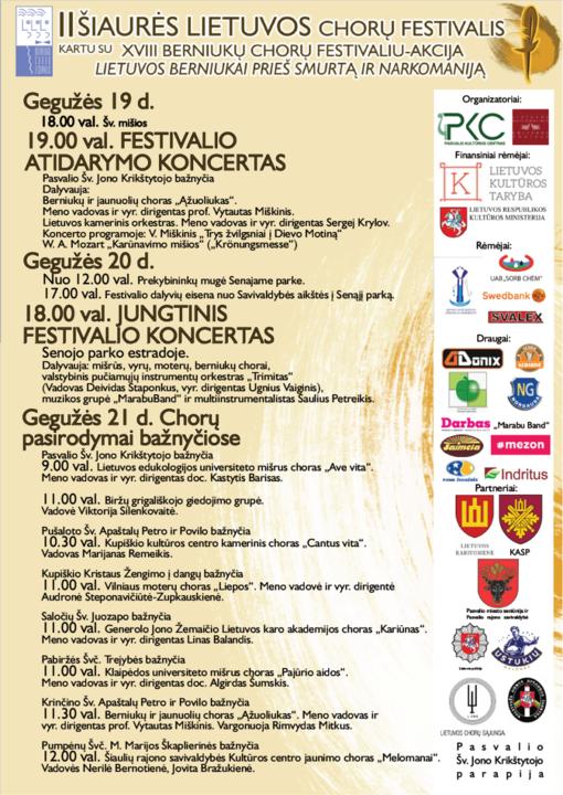 II Šiaurės Lietuvos chorų festivalis prasideda jau šiandien!