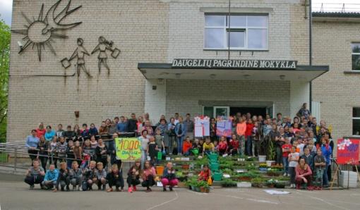 Mokyklą papuošė 1000 gėlių daigų