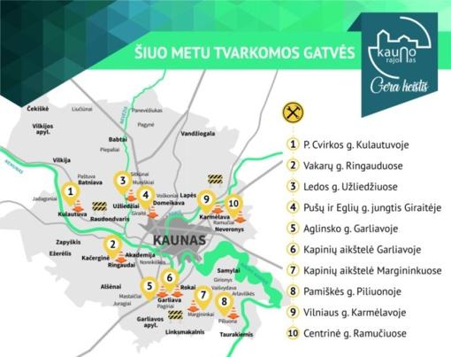 Kauno rajone šiuo metu tvarkomos gatvės