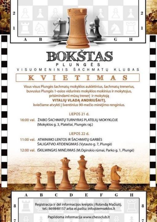Kviečia Lietuvos šachmatų nusipelniusį trenerį V.V.Andriušaitį pagerbti Plungėje