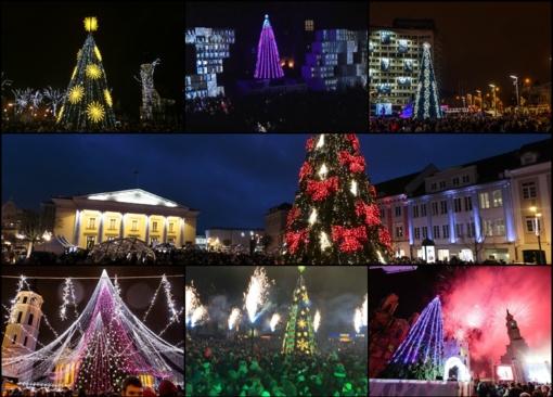 Didžiuosiuose miestuose, kurortuose įžiebtos Kalėdų eglės