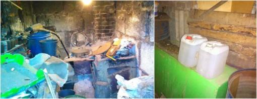Vasarnamyje – naminukės aparatas, ūkiniame pastate  - 20 litrų naminės degtinės