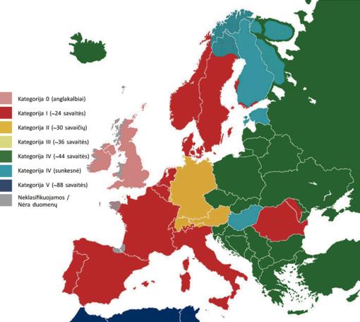 Žemėlapis atskleidžia, kiek laiko užtrunka skirtingų kalbų mokymasis