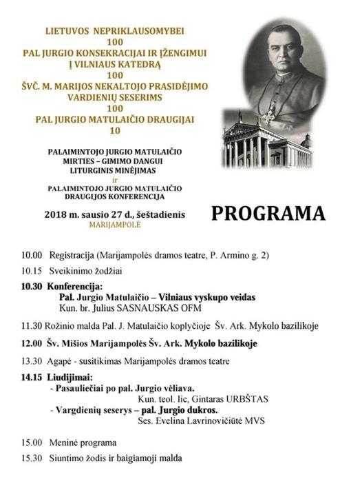 Marijampolėje bus minimas palaimintojo Jurgio Matulaičio konsekracijos ir Vargdienių seserų 100-metis