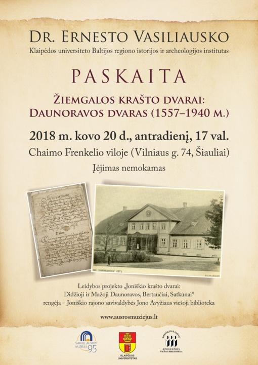 Chaimo Frenkelio viloje – Dr. Ernesto Vasiliausko paskaita apie  Daunoravos dvarą