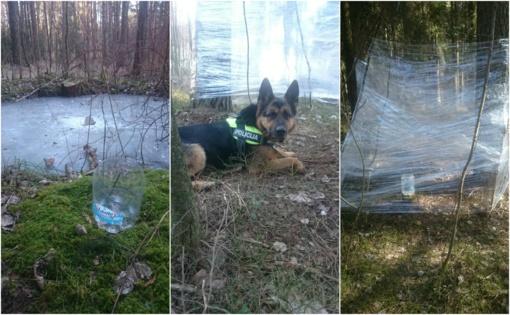 Kinologas su tarnybiniu šunimi sugriovė bičiulių planus miške parūkyti žolės (FOTO)