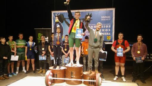 Jaunieji Anykščių sunkiaatlečiai varžybose Simne iškovojo medalius