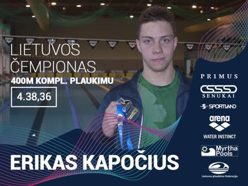 Erikas Kapočius garsino Ignalinos vardą respublikinėse plaukimo varžybose