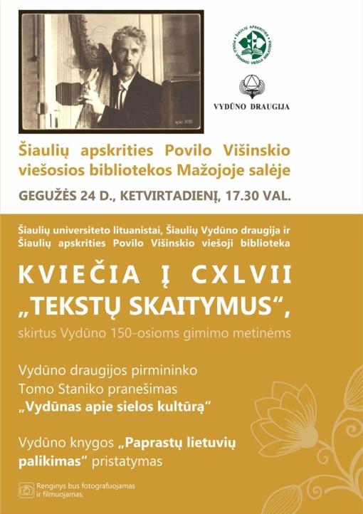 "CXLVII ""Tekstų skaitymai"" bibliotekoje"