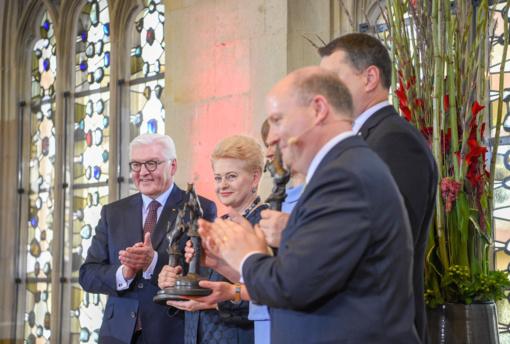Miunsteryje prezidentė D. Grybauskaitė atsiėmė Baltijos šalims skirtą Vestfalijos taikos premiją