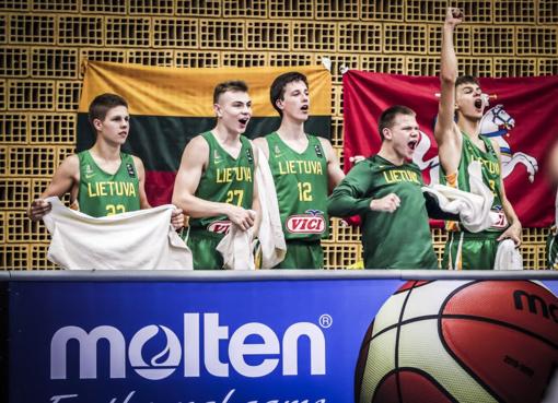 Europos U16 krepšinio čempionate lietuviai pasiekė pergalę 50 taškų skirtumu