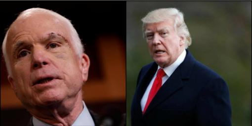 Trumpas neleido padėjėjams paskelbti velionį JAV senatorių McCainą giriančio pranešimo