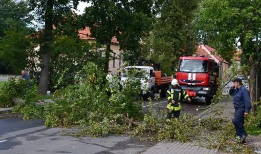 Vėjo gūsiai vartė medžius, apgadintas pastatas ir automobilis