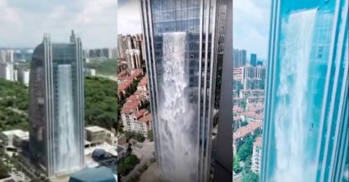 Kinijoje– dangoraižis su didžiausiu dirbtiniu kriokliu
