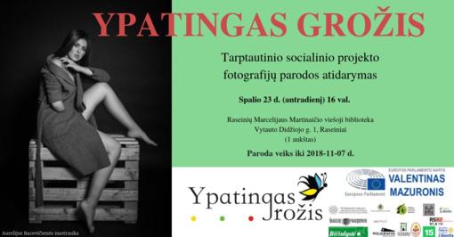 """Tarptautinio socialinio projekto """"Ypatingas grožis"""" fotografijų paroda Raseiniuose"""