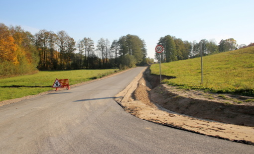 Atliekami kelio asfaltavimo darbai šalia Dusios ežero