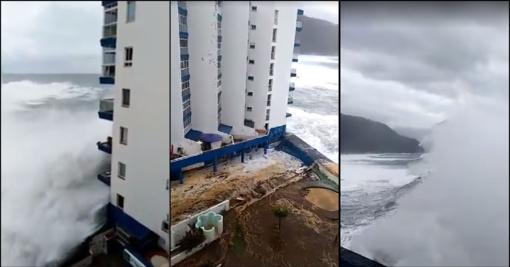 Tenerifę niokoja milžiniškos bangos: iš pastatų evakuota dešimtys žmonių, skendo automobiliai (vaizdo medžiaga)
