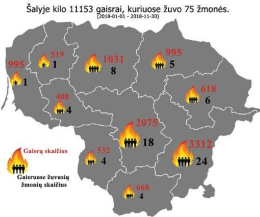 Gaisruose dažniau žūsta miestelių ir kaimų gyventojai