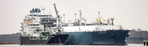 SGD paskirstymo stotį aptarnausiantis laivas pradedą pirmąją krovos operaciją Klaipėdoje
