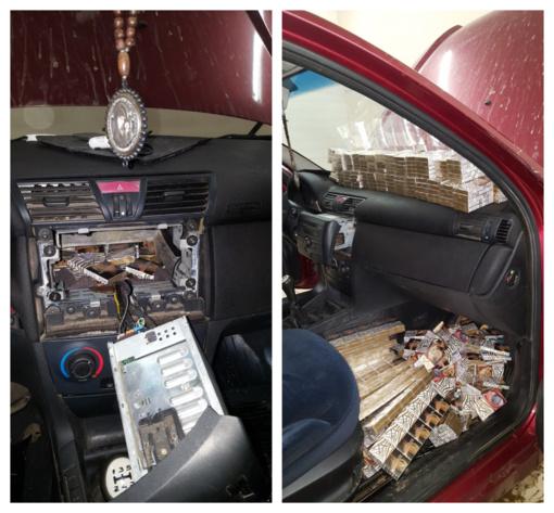 """Kontrabandinius rūkalus baltarusis vežė """"Fiat Stilo"""" slėptuvėje"""