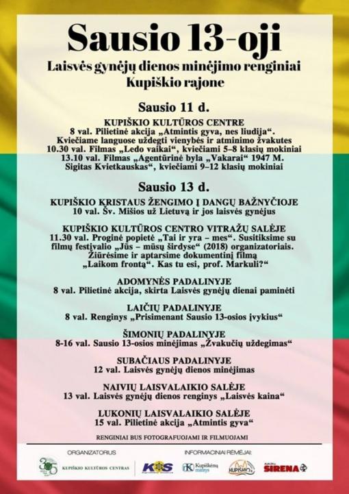 Laisvės gynėjų dienos minėjimo renginiai Kupiškio rajone