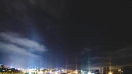 Gerokai atšalus Lietuvoje užfiksavo itin retą fenomeną – šviesos stulpus