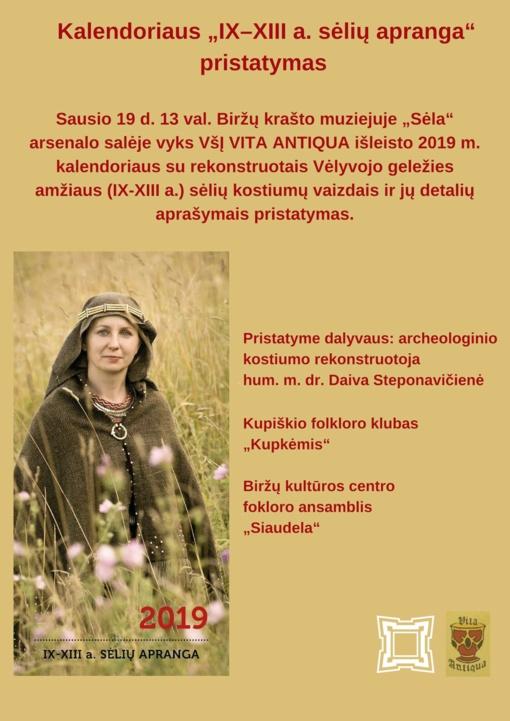 """Kalendoriaus """"IX–XIII a. sėlių apranga"""" pristatymas Biržų krašto muziejuje """"Sėla"""""""