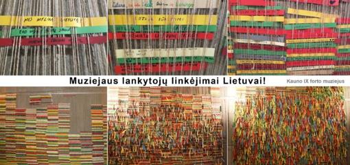 Kauno IX forto muziejaus lankytojai nuaudė šimtmečio linkėjimų audinį