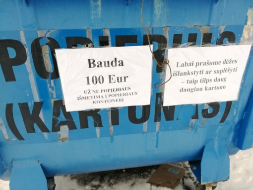 Įspėjimai ant konteinerių: tikros baudos ar pajuokavimas?