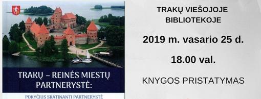 Pristatoma knyga, skirta Trakų ir Reinės partnerystei