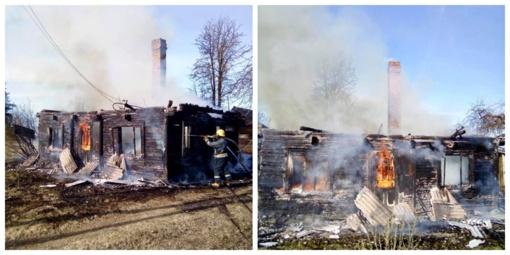 Ukmergės rajone per gaisrą nukentėjo žmogus