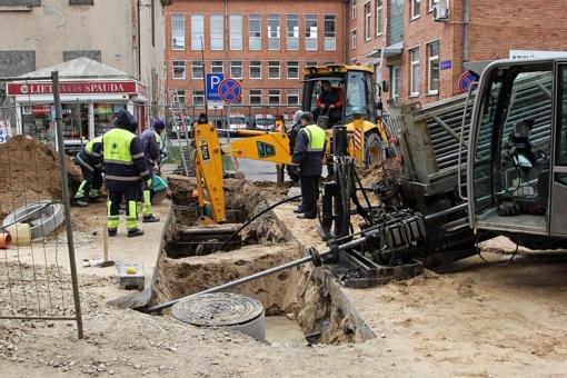 Įpusėjo vamzdynų rekonstrukcijos darbai Vytauto gatvėje