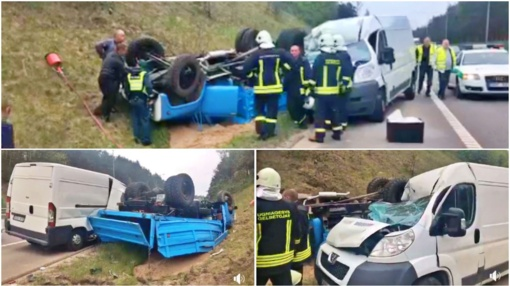 Didelė avarija Vilnius-Kaunas – apvirto sunkvežimis