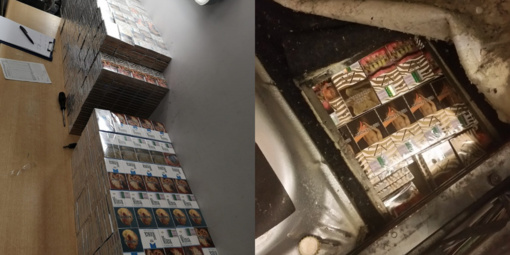 Pasieniečiai sulaikė vilnietį, slėptuvėse vežusį 2 tūkstančių cigarečių pakelių kontrabandą