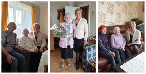 Savivaldybės merė pasveikino gražius 90 metų jubiliejus švenčiančias birštonietes
